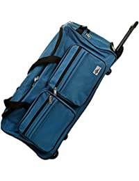 Bolsa de viaje Maleta color Azul con 2 ruedas 5 pies mango telescópico extraíble Material: poliéster 600D con revestimiento de PVC
