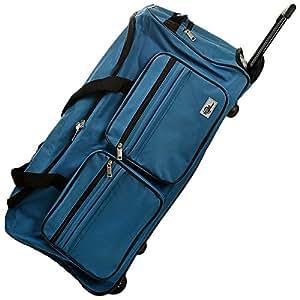 DEUBA XL Reisetasche | mit Trolleyfunktion | Rollen mit Kugellager | Teleskopgriff | abschließbar 85 Liter in Blau Sporttasche Reisetrolley Gepäcktasche