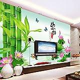 Tsqqst Fototapete 3D Seamless Tv Rückwand Tapete Nahtlose Wandbild Personalisierte Tapete Wand Hintergrund Landschaft Liebe Fisch Lotus