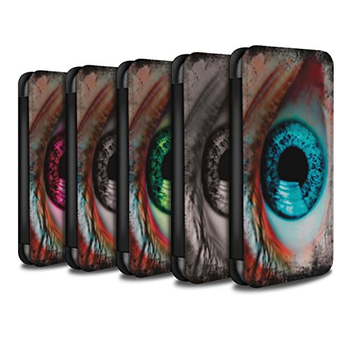 Stuff4 Coque/Etui/Housse Cuir PU Case/Cover pour Apple iPhone 5/5S / Jaune Design / Yeux/Iris Collection Pack 6pcs