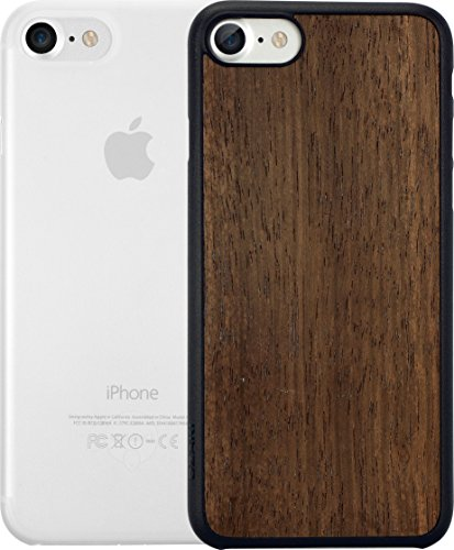 Ozaki O!Coat 0.3 Jelly & Wood 2 in 1 Schutzhüllen Set für Apple iPhone 7 / 8 [Cover mit Ebenholzfurnier + transparentes Cover | 0.3mm dünn | Extrem passgenau] - OC721EC