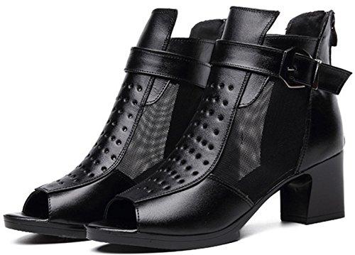 DADAWEN Chaussures Femme Escarpins Petit Talon Noir(B)