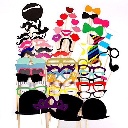 JZK® 58 tlg Foto requisiten verkleidung accessoires masken schnurrbart lippen brille krawatte tabakspfeife hüte bärte photobooth photo booth props zubehör set kit für neujahr hochzeit geburtstag party abschlussfeier etc. (versand ort Deutschland)
