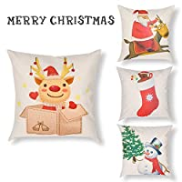 CHIMAERA Pillow Covers,Set of 4 pillow cases,18x18 Linen Pillow Covers Home Sofa Decorative Cushion Cover for Christmas (color 4)