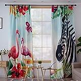 JINZA Vorhänge Tier Zebramuster/fertigen Vorhang/modernen niedlichen Cartoon-Stil Vogel und Zebra Pastoralen Kinder Zimmer Perforation Vorhang, 1.5m