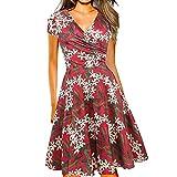 Vestidos Elegantes Floral Rojo Mujer Verano, Boho Chic Vestidos Tallas Grandes,Sexy Cuello en V Vestidos,...