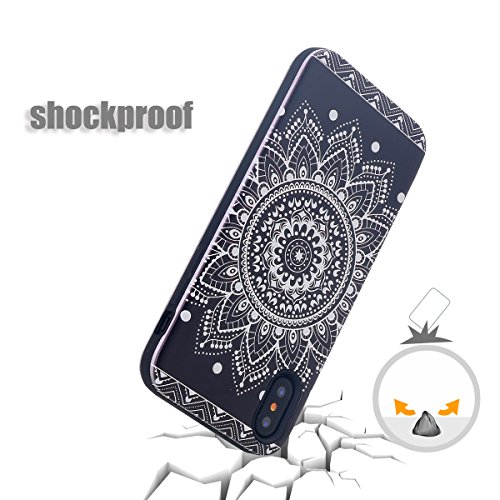 Custodia iPhone X,Custodia iPhone 10,iPhone X Case Snewill Art Floral Slim Cover Hard Shell Soft TPU Dual Layer Shockproof Bumper Hybrid Protective Case for Apple iPhone X - Black Black