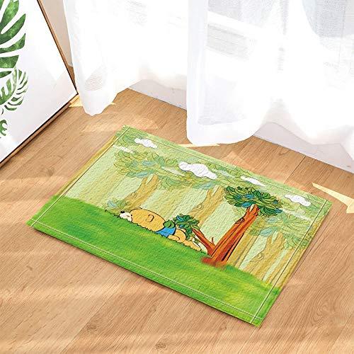 ZZ7379SL Kinder Dekor Cartoon Bär liegend auf grünem Gras des Waldes Bad Teppiche 3D Digitaldruck 40x60CM Schlafzimmer Küche Kinder Badezimmer Matten Zubehör - Gras-teppich Badezimmer