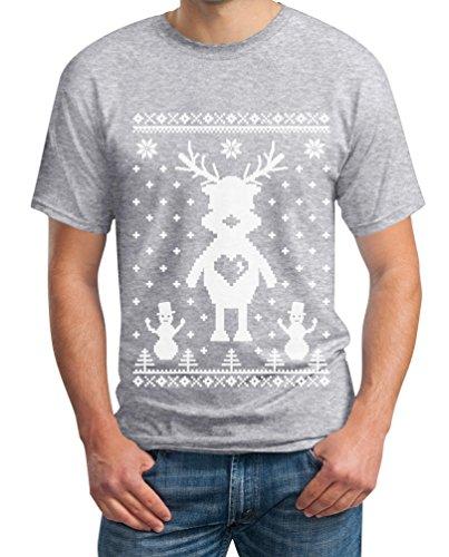Rentier im Schnee mit Schneemännern Weihnachten T-Shirt Grau