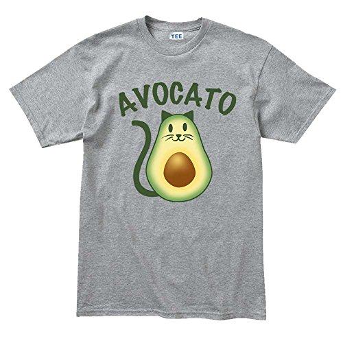 Customised_Perfection Aguacate Avocato Cat (gato, Kitty) mascota T Shirt - Gris -