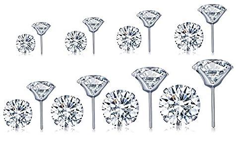 Unendlich U 925 Sterling Silber 16PCS 3-10mm 4 Klaue Zirkonia Ohrstecker Gestüt Stecker Ohrringe Set Ohrschmuck für Damen Mädchen, 8 Paare