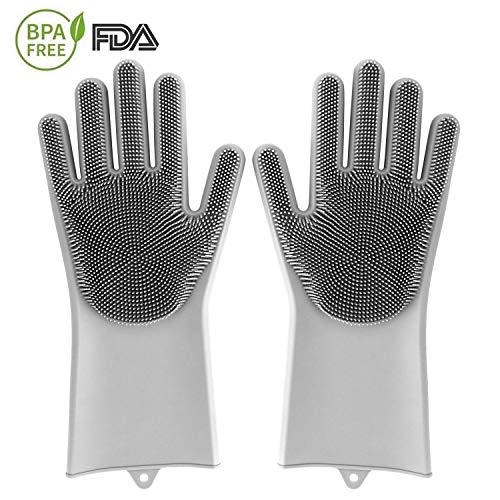 Silikon Handschuhe Reinigungsbürste, MojiDecor Magische Spülhandschuhe hitzebeständig und wasserdicht, Antibakterielle Reinigung Handschuhe für Reinigung, Haushalt, Geschirrspülen, Haustierhaarpflege (Hitzebeständige Gefüttert Handschuhe)