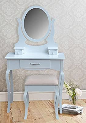 Vintage Style White Dressing Table Make Up Stand Stool & Oval Mirror Complete Bedroom Set