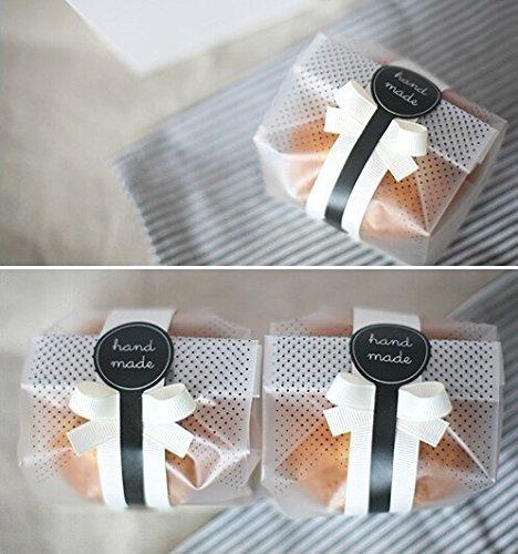 Yunko - sacchetti trasparenti per biscotti, torte, cioccolato, caramelle e snack, 100 unità, in plastica, ideali per feste con dolcetti, con adesivi