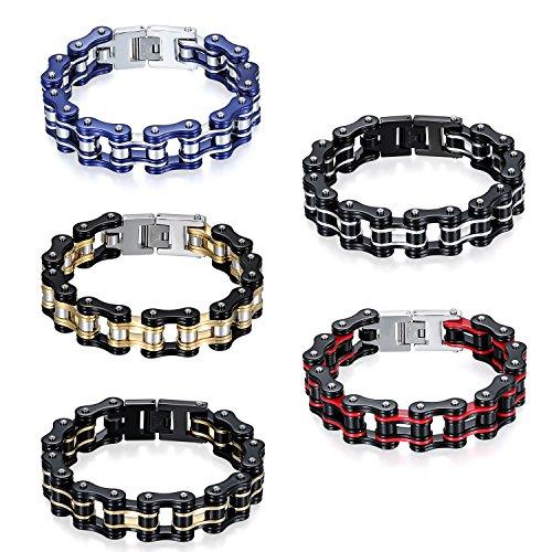 cs Herren Biker Kette Armband, Groß Schwer Hochglanz Poliert Fahrradkette Motorradkette Armkette Armreif aus Edelstahl, 5 Verschiedene Modellen ()
