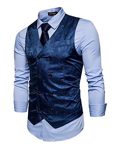 STTLZMC Elegante Herren Weste Formal Paisley Slim Fit Retro Stil blazer,Blau,l (Navy Plaid-anzug)