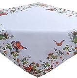 Tischdecke 85x85 cm Weiß SCHMETTERLING Orange Bunt Pflegeleichte Mitteldecke Frühlingsdecke