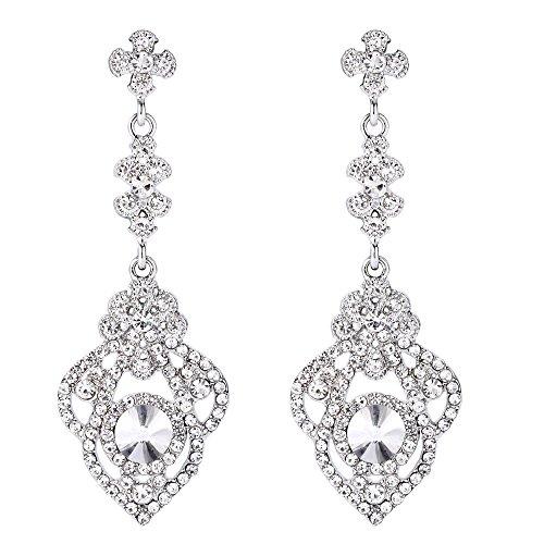 Clearine Damen Viktorianisch Stil Kristall Art Deco Gatsby Inspiriert Blume Chandelier Dangle Ohrringe Klar Silber-Ton