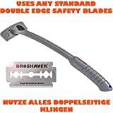 Bro Shaver Back Hair Shaver, Stainless Steel Bolts, Uses Standard Double Edge Safety Razor Blades