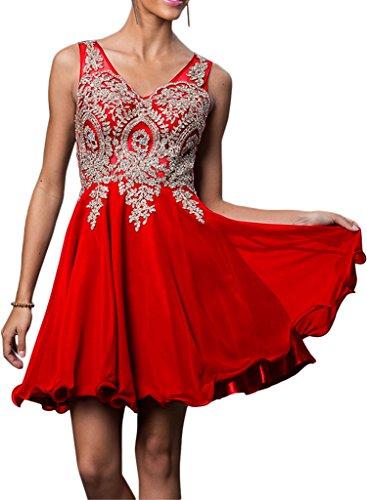 La_mia Braut Elegant Royal Blau V-ausschnitt Cocktailkleider Partykleider Heimkehr Tanzenkleider Mini A-linie Rock Rot
