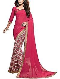 Angel Fashion Georgette Saree (P119_Red)