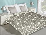 Bettüberwurf Tagesdecke Will zweiseitig 220 cm x 240 cm Stahl/Weiß