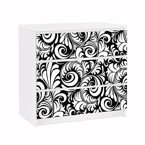 Apalis 91600 Möbelfolie für IKEA Malm Kommode Black and White Leaves Pattern, größe 3 mal, 20 x 80 cm