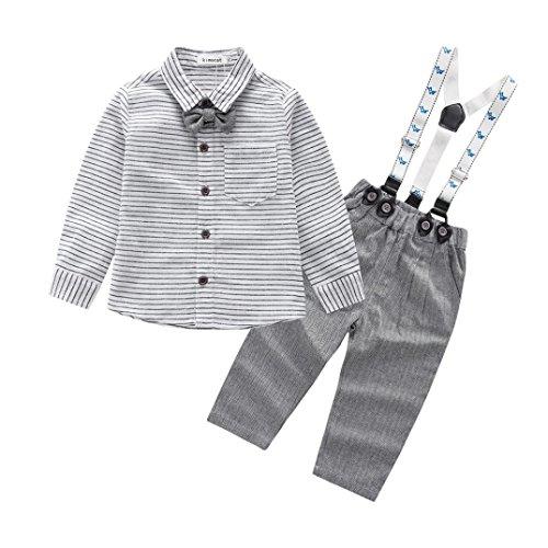 URSING 2pcs Baby Jungen Hosenträger Gentleman Outfits Set Kleinkind gestreift bedruckt Bogen Lange Ärmel T-Shirt Tops mit Pocket + Hosen Kleider Neugeborene Party Outfit Bekleidung Sets (12-18M, (14 Kostüm Louis)