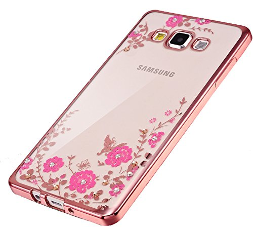 Little Flower Bling Thin Silicone Back Case Cover for Samsung Galaxy J7 2016 edition (Rose Pink)