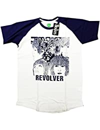 The Beatles T Shirt - Revolver Short Sleeve Baseball Blue Style 100% Official