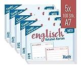 Häfft Vokabel-Karten A7 Englisch liniert, 500 Stück | 2 Seiten: Englisch/Deutsch | Ampel-Prinzip für das Langzeitgedächtnis | passend für gängige Lernboxen, handlich für unterwegs