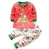 HENGSONG Arbre de Noël Impression Garçons Filles Coton Pyjama Bébé Four Seasons Sous-vêtements Ensembles Enfants (110cm)