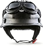 Moto Helmets® D33-Set 'Leather Black' · Brain-Cap · Halbschale Jet-Helm...