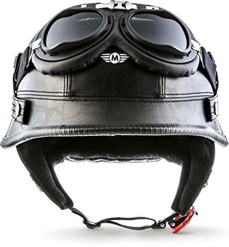 "Moto Helmets® D33-Set \""Leather Black\"" · Brain-Cap · Halbschale Jet-Helm Motorrad-Helm Roller-Helm Scooter-Helm Bobber Mofa-Helm Chopper Retro Cruiser Vintage Pilot Biker Helmet Brille · M (57-58cm)"