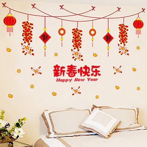 JJZZ Wandtattoos Abnehmbare Wandaufkleber Chinese New Year Wohnzimmer Hintergrund Wand Fenster Glas Layout New Year Chinese New Year Aufkleber Aufkleber 50 * 70 cm