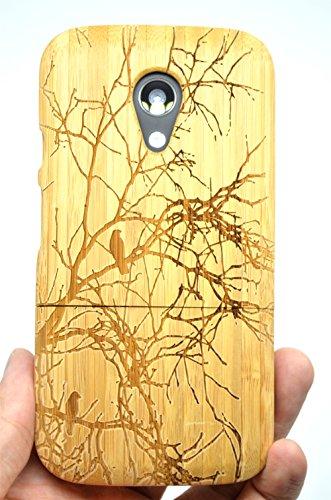 RoseFlower® Motorola Moto G (2 Generazione) Legno Custodia - Albero di bambù - Qualit à Premium Cover in bambù/Legno Naturale con Gratis Paraschiena Schermo per Il TuoSmartphone