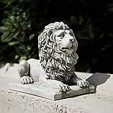 Homezone Grand Effet Pierre Résine Assis Lion Animal Jardin Ornements Fabriquéà la Main Sculptures Gazon Statues Antique Décor Faune Sculptures