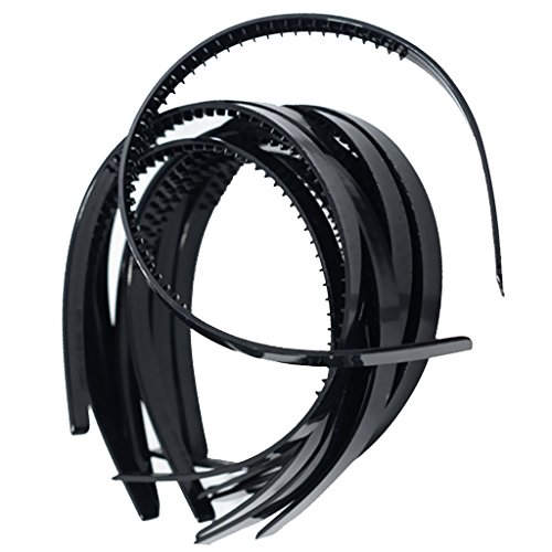 Fenteer 10er Set 10mm Dünnes Schmales Haarreifen aus Plastik Einfarbig Haarreif Haarschmuck Haarband Stirnband Haarschmuck Zum Basteln Dekorieren - Schwarz