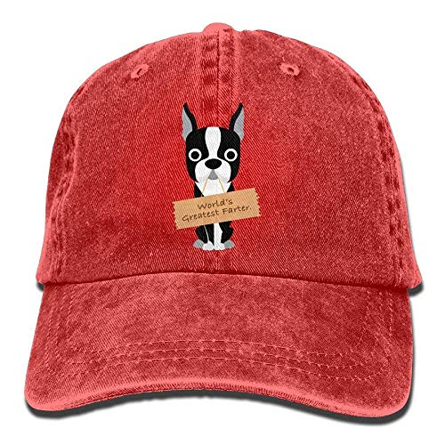 hanbaozhou Hüte,Kappen Mützen World's Greatest Boston Terrier Dog Denim Hat Adjustable Baseball Hats