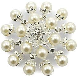 Broche plateado con perlas