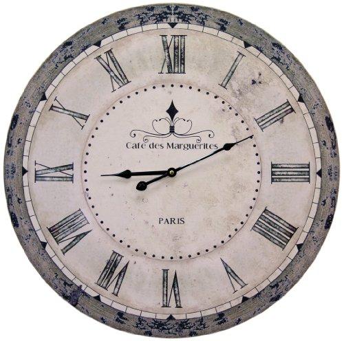 Orologio da parete grande, shabby chic, con scritta in lingua francese 'Cafe des Marguerites Paris', diametro 60cm