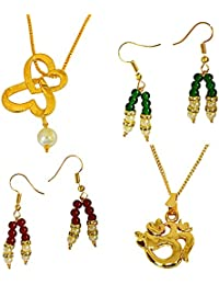 Surat Diamonds 2 Gold Plated Pendants And Colored Stone, Shell Pearl Hanging Earring Set For Women With 22 IN...