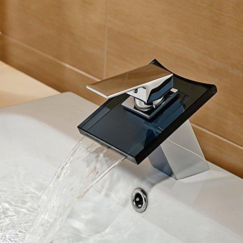 Auralum® Hochwertig Hochwertig Grau Glas Armatur Wasserhahn Waschtisch Waschtischarmatur für Bad Wasserbecken Spüle