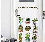 Planta en maceta Cactus Dormitorio de Dibujos Animados Sala de estar Extraíble Refrigerador Ventana Diy Pegatinas de Pared Calcomanía Decoración Arte Mural