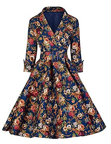 Lonely hero Damen V-Ausschnitt 3/4-Arm Retro Cocktailkleid Rockabilly 70er Jahr Party Abendkleid (Tanz Shrug)
