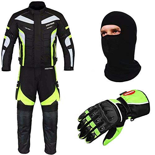 PROFIRST Wasserdichtes Motorrad Klage Gewebe (Jacke + Hose + Handschuhe + Balaclava) Motorrad CE gepanzerte Kleidung für alle Wetter - 6 Packs Entwurf - Grün/Green - X-Large (All-wetter-hose)