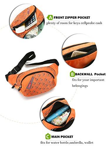 Impermeabile in nylon marsupio borsa Fanny Pack hip marsupio per corsa all' aperto campeggio trekking escursionismo ciclismo, Orange Orange