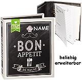 alles-meine.de GmbH Kochbuch & Backbuch - Ordner / Ringbuch / Sammelordner -  Bon Appetit Rezepte  - incl. Name __ 25 Seiten - ERWEITERBAR - Rezeptbuch zum selberschrei..
