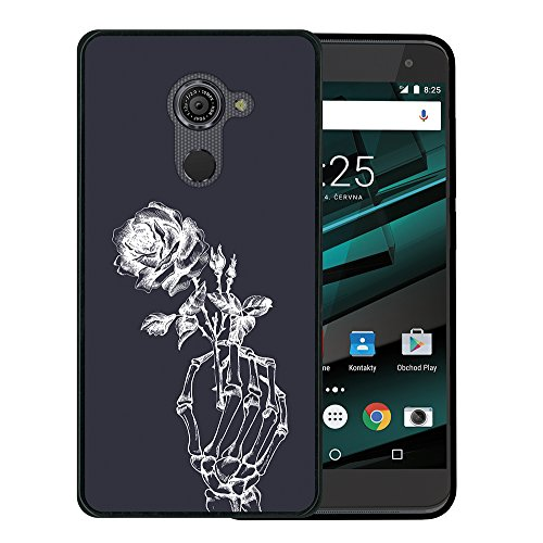 WoowCase Vodafone Smart Platinum 7 Hülle, Handyhülle Silikon für [ Vodafone Smart Platinum 7 ] Skeletthand und Rose Handytasche Handy Cover Case Schutzhülle Flexible TPU - Schwarz