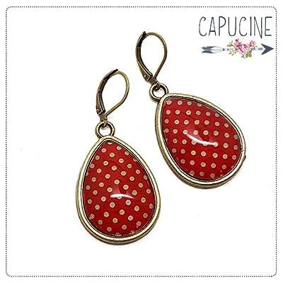 Boucles d'oreilles rouge à pois - Boucles d'oreilles cabochon goutte rouge à pois - Papier à pois Rouge